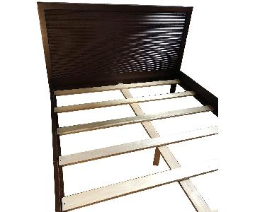 Crate & Barrel Dark Wood Queen Size Bed Frame