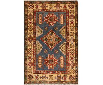 Kazak Isaiah Blue/Ivory Hand-Knotted Wool Rug
