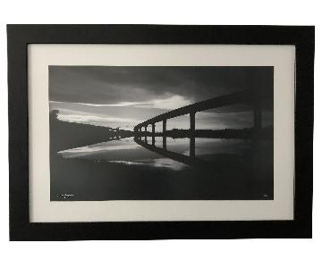 Framed Black & White Bride Overpass Artwork