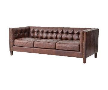 dCOR Design Abbott Vintage Cigar Tufted Leather Sofa