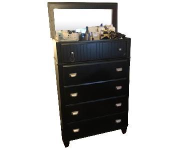 Black 5 Drawer Dresser w/ Open Top & Mirror