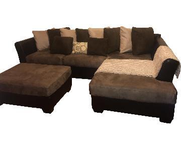 Hancock & Moore Leather 2-Piece Sectional Sofa & Ottoman