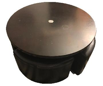 Black Circular Coffee Table w/ 4 Pull Out Storage Stools