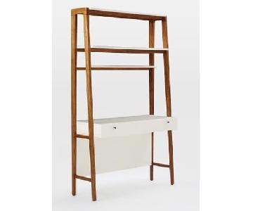 West Elm Modern Wall Desk & Helvetica Chair in Grey