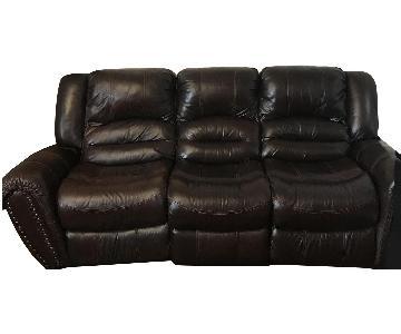 Chocolate Leather Reclining Sofa