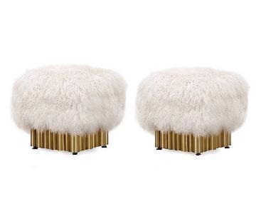 Mongolian Fur Ottomans