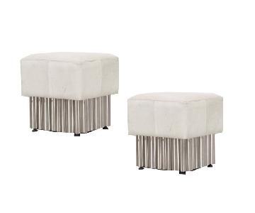 Cream Leather Ottomans