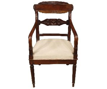 Antique Italian Armchairs in Carved Mahogany Wood