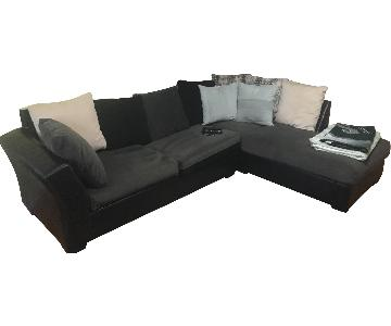 Gray & Black 2 Piece Sectional Sofa