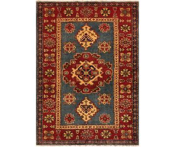Kazak Rusty Blue/Rust Hand-Knotted Wool Rug