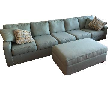 Jennifer Convertibles Aqua Green Sectional Sofa & Ottoman