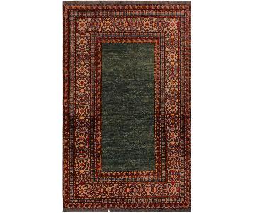 Super Kazak Dorene Green/Red Hand-Knotted Wool Rug