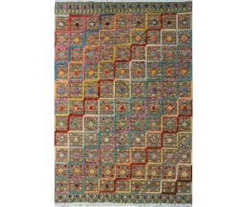 Moroccan High-Low Pile Arya Augustin Tan/Blue Wool Rug