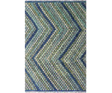 Kilim Arya Cathey Blue/Ivory Wool Rug