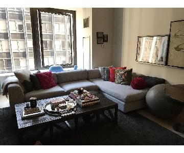 Centro Ink Modern Low Back 2-Piece Sectional Sofa