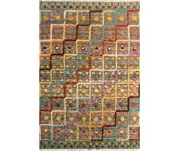 Moroccan High-Low Pile Arya Wai Tan/Blue Wool Rug