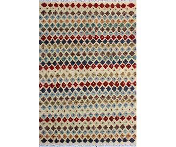 Moroccan High-Low Pile Arya Senaida Beige/Blue Wool Rug
