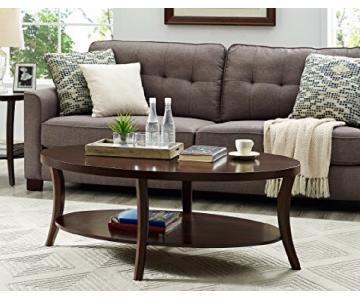Contemporary Espresso Oval Coffee Table w/ Shelf