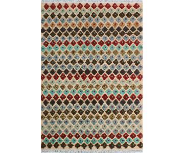 Moroccan High-Low Pile Arya Trey Beige/Blue Wool Rug