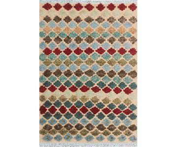 Moroccan High-Low Pile Arya Rosalva Beige/Blue Wool Rug
