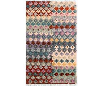 Moroccan High-Low Pile Arya January Ivory/Rust Wool Rug