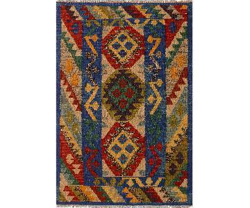 Kilim Arya Omar Blue/Rust Wool Rug