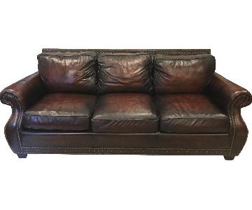 Bernhardt Leather Sofa w/ Nailheads