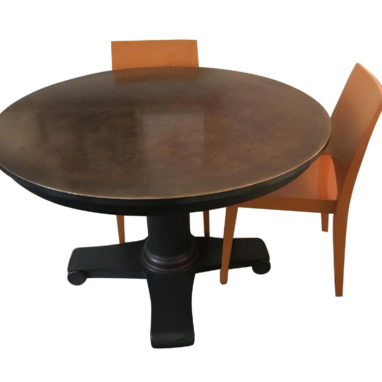 Crate Barrel Copper Top Table W 4 Orange Lacquer Chairs Aptdeco