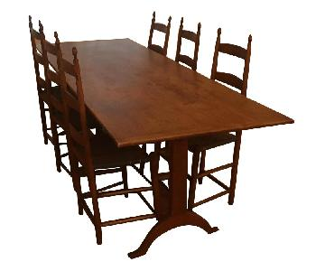 Hancock & Moore Cherry Shaker Trestle Table w/ 6 Chairs