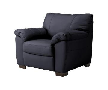 Ikea Vreta Black Leather Armchair