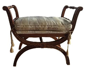 Wood Upholstered Italian Stool
