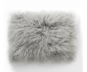 West Elm Mongolian Lamb Pillow Cover in Platinum Grey