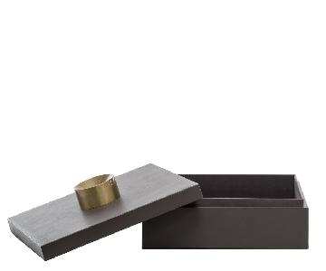 Large Gray Leather Storage Boxes