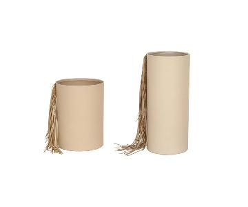 Cream Leather Fringe Vases