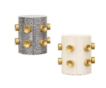 Gold Studs Leather Side Tables