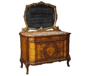 Italian Wood Dresser w/ Mirror & Marble Top