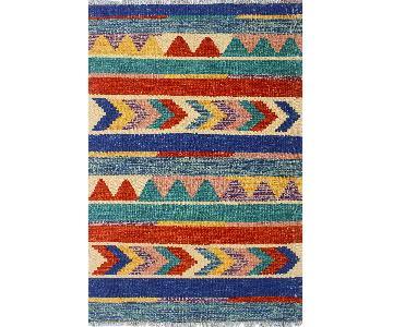 Kilim Arya Tennille Blue/Ivory Wool Rug