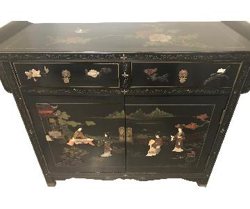 Antique Japanese Scroll Style Lacquer Cabinet