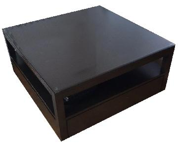 Crate & Barrel Square Coffee Table w/ Pull Out Sides