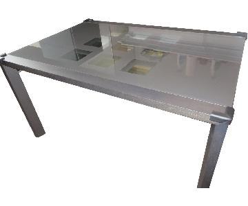 Ligne Roset Extensia Dining Table in Ebony Oak Black Glass
