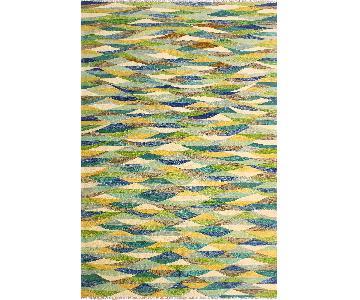 Kilim Arya Aide Blue/Ivory Wool Rug