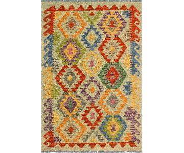 Kilim Arya Romona Lime Green/Purple Wool Rug