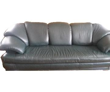 Leather 3 Seater Sofa + Armchair