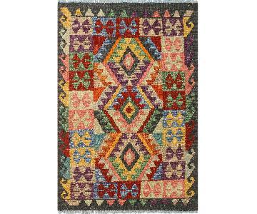 Kilim Arya Lowell Chocolate/Red Wool Rug