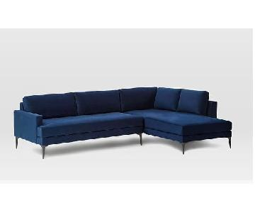 West Elm Andes Left Arm Terminal Chaise Sectional Sofa