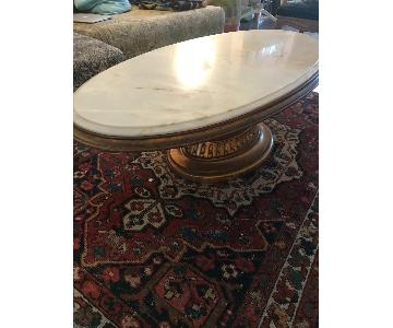 Antique Marble Coffee Table w/ Carved Gilded Wooden Base