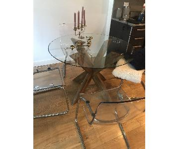 Round Glass & Wood Dining Table w/ 4 Ikea Tobias Chairs