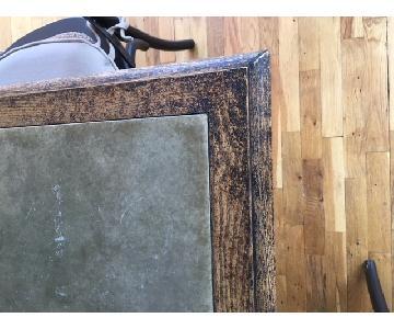 Arhaus Metal Inlaid Top Dining Table w/ 8 Wood Chairs