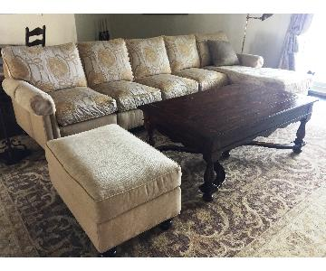 Drexel Heritage Sectional Sofa w/ Chaise & Ottoman