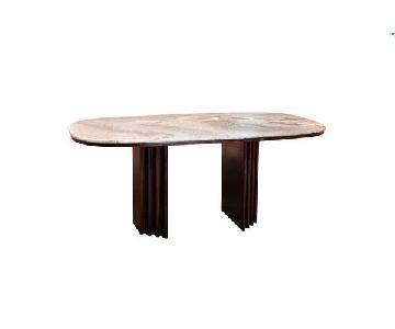 Mid-Century Rosewood & Rose Granite Top Dining Table